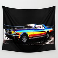 mustang Wall Tapestries featuring Muscle Car Mustang By Annie Zeno  by Annie Zeno