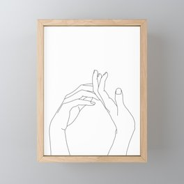Hands line drawing illustration - Abi Framed Mini Art Print