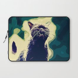 british shorthair cat ready to attack vector art foggy night Laptop Sleeve