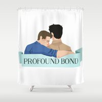 bond Shower Curtains featuring Profound bond by Mack Robles