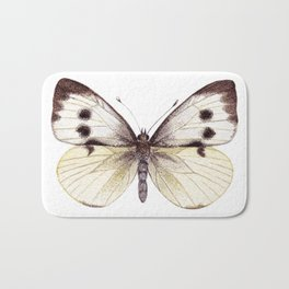 Large White Butterfly Bath Mat