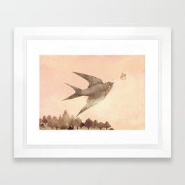 Sunset Swallow Framed Art Print