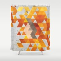 crossfit Shower Curtains featuring Geometric Penguin by Joel M Young