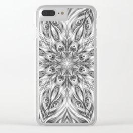 Gray Center Swirl Mandala Clear iPhone Case