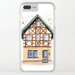 Half-timbered whimsical house in watercolors Clear iPhone Case