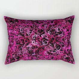Hot Pink and Black Electric Lines Rectangular Pillow