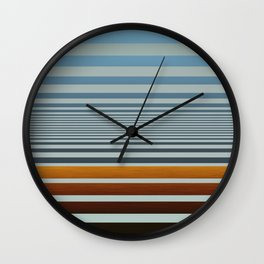 Masculine Grey Blue Wood Grain Gradient Stripes Wall Clock