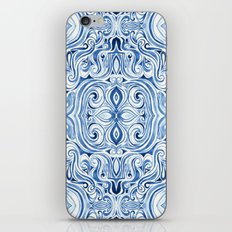 Indigo Blue Watercolor Swirl Pattern iPhone & iPod Skin