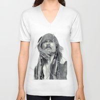jack sparrow V-neck T-shirts featuring Jack Sparrow - Bring Me That Horizon by Art by Cathrine Gressum