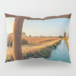 Bridge over an irrigation channel of the Lomellina at sunset Pillow Sham