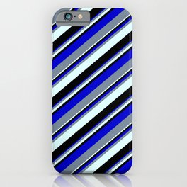 Blue, Light Slate Gray, Light Cyan, and Black Colored Lined/Striped Pattern iPhone Case