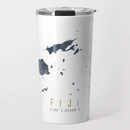 Blue and Gold Map of Fiji Travel Mug