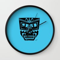 tiki Wall Clocks featuring Tiki by Nick Salmon