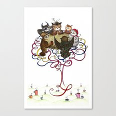 Art School Owl Assembly Canvas Print