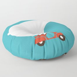 Polar bear on scooter Floor Pillow