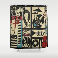 saxophone Shower Curtains featuring Jazzz by Chicca Besso