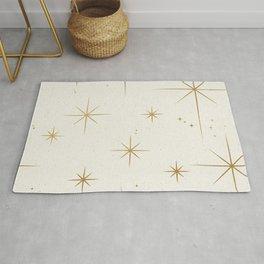 Seamless Pattern Glamorous White Gold Art Deco Stars Constellations Minimalist Geometric Pattern Rug