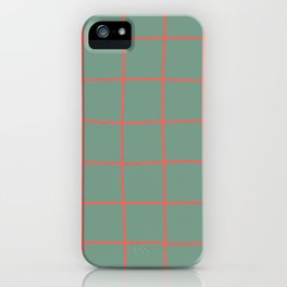 Simple Grid Coral Green iPhone Case