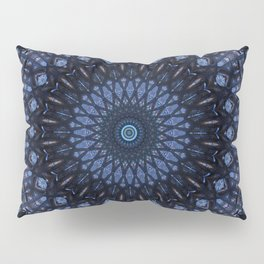 Dark and light blue mandala Pillow Sham