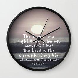 Ocean Sunrise with Psalms Light Salvation Bible Verse Wall Clock