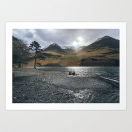 Snow capped mountains on Buttermere. Cumbria, UK. Art Print