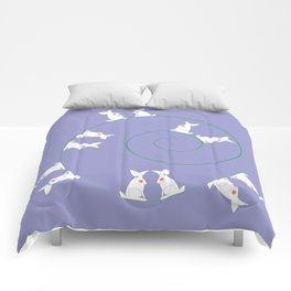 The Funny Bunnies in Lilac Comforters