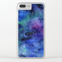 Colorful Galaxy Space Watercolor Clear iPhone Case