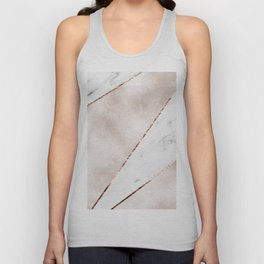 Spliced rose gold marble Unisex Tank Top