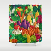 vegetarian Shower Curtains featuring Nice People Eat Vegetables - background (Made with Danny Ivan) by Lidija Paradinović Nagulov - Celandine