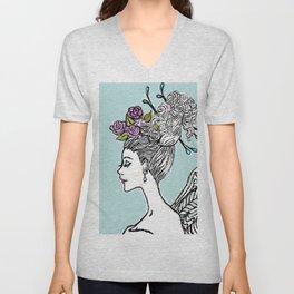 Wedding Princess Hair with Roses Unisex V-Neck