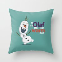 olaf Throw Pillows featuring Olaf by An Illustrated Dream