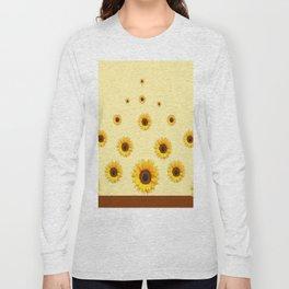 RAINING SUNFLOWERS FLOWERS CREAMY BROWN ART Long Sleeve T-shirt