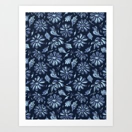 Title Indigo Blue Flower Daisy Hand Drawn Art Print