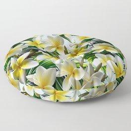 Plumeria on Palm Leaves Floor Pillow