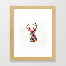 Hipster Vintage Deer Head Bright Patchwork Stripes Framed Art Print