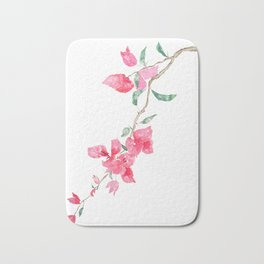 red  pink  bougainvillea watercolor Bath Mat