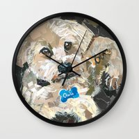 charlie Wall Clocks featuring Charlie by Maritza Hernandez