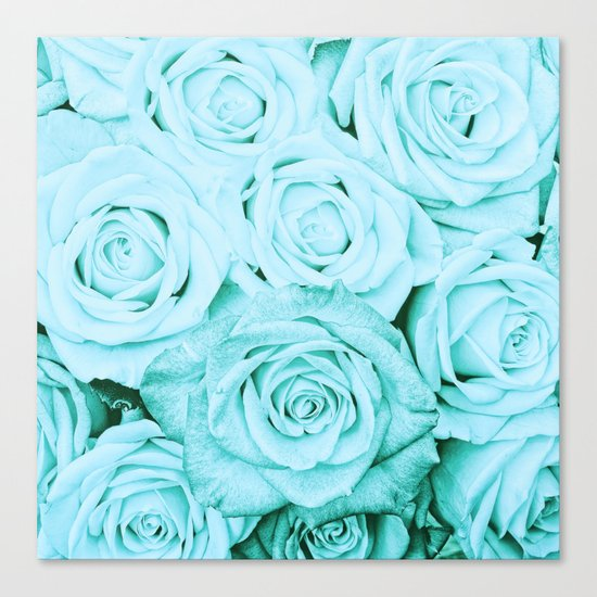 Turquoise roses - flower pattern - Vintage rose on #Society6 Canvas Print