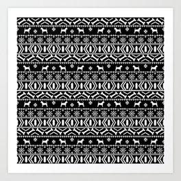 Chihuahua fair isle christmas sweater black and white minimal chihuahuas dog breed Art Print