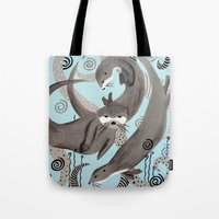 otters Tote Bags featuring Otters at Play by JeanneFryArt