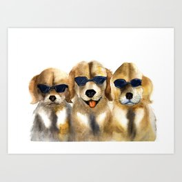 Yellow dogs  in funny glasses Art Print