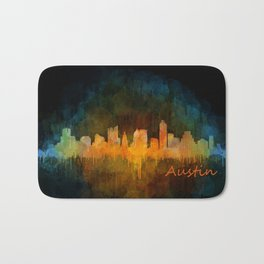 Austin Texas, City Skyline, watercolor  Cityscape Hq v4 Dark Bath Mat