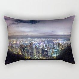 Beautiful Hong Kong city dark night view Rectangular Pillow