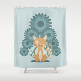 Cat in the Flowerfield Shower Curtain
