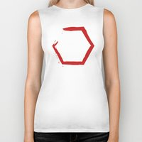 hexagon Biker Tanks featuring Red Hexagon by C Designz