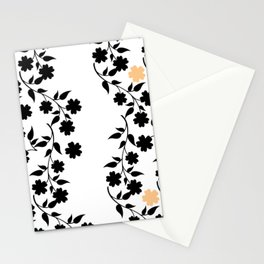 Black and Tan Floral Silhouette Stationery Cards