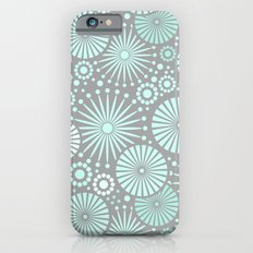 Mint and grey geometric flowers iPhone 6 Slim Case