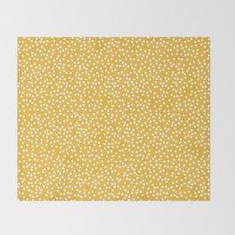 Mustard Yellow and White Polka Dot Pattern Throw Blanket