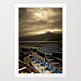 Boats on Phewa Lake, Pokhara, Nepal Art Print