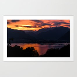 Locarno and Ascona at sunset Art Print